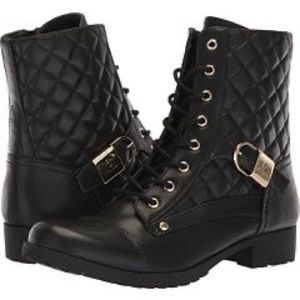 G by GUESS Black Gold buckle quilted combat boots